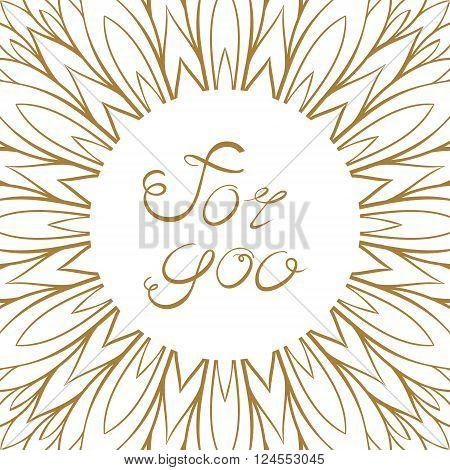 Vector absrtact flower petals golden frame on a white background