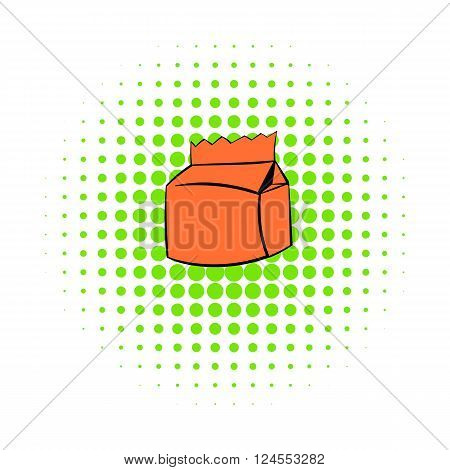 Milk or juice carton package icon in comics style on a white background