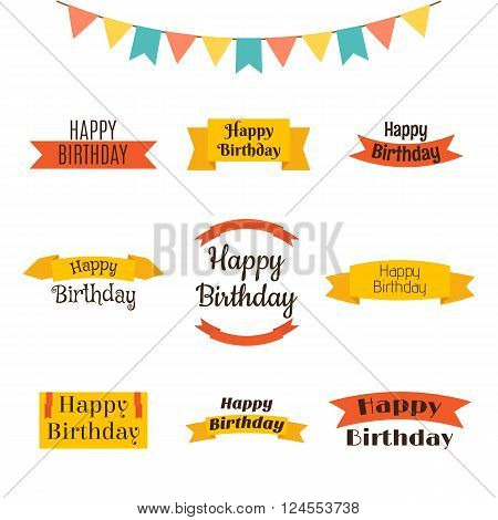 Set Of Happy Birthday Greeting Cards. Birthday Theme Labels. Typography Design Elements