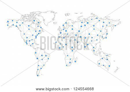 Telecommunication connection lines on world map isolated on white