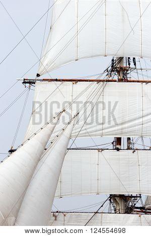 Close up view of a vintage sailing ship mast