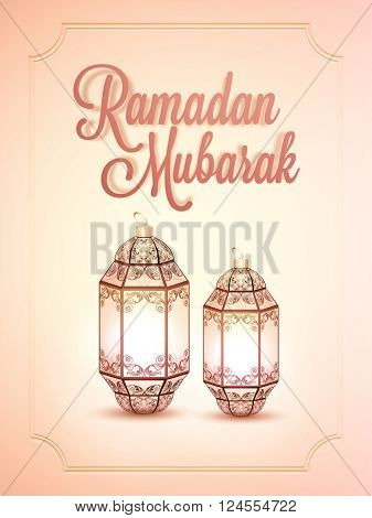 Glossy Pamphlet, Banner or Flyer design with beautiful Lamps for Islamic Holy Month, Ramadan Mubarak celebration.