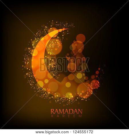 Creative illustration of glowing golden moon with muslim boy reading Namaz (Islamic Prayer) for Holy Month, Ramadan Kareem celebration.