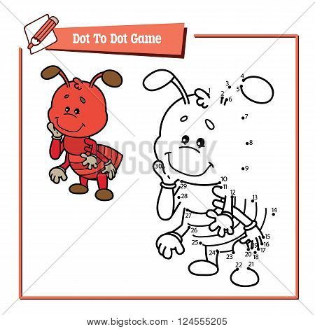 dot to dot ant game. Vector illustration educational game of dot to dot puzzle with happy cartoon ant for children