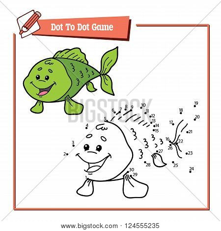 dot to dot fish game. Vector illustration educational game of dot to dot puzzle with happy cartoon fish for children