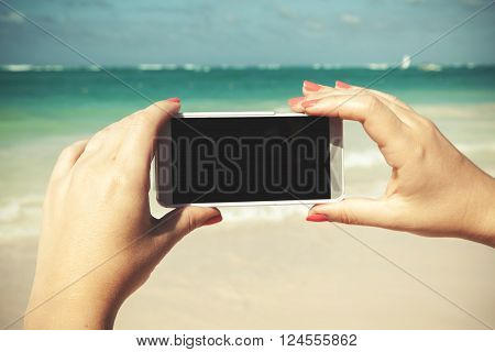 Smart Phone, Taking Photo On A Summer Beach