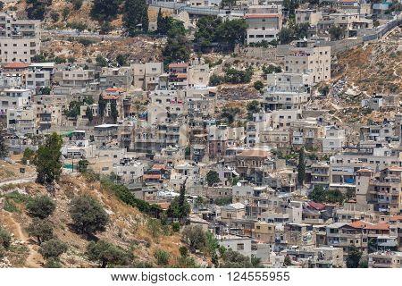 View of Silwan - palestinian town near Jerusalem, Israel.
