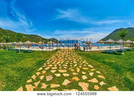 Entrance to Scenic Antisamos Beach in Kefalonia Island, Greece