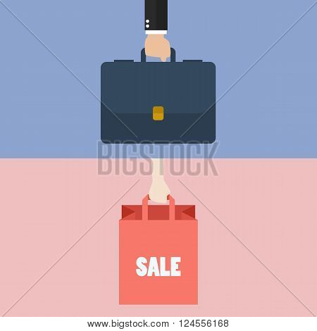 Male hand holding briefcase and female hold shopping bag. vector illustration