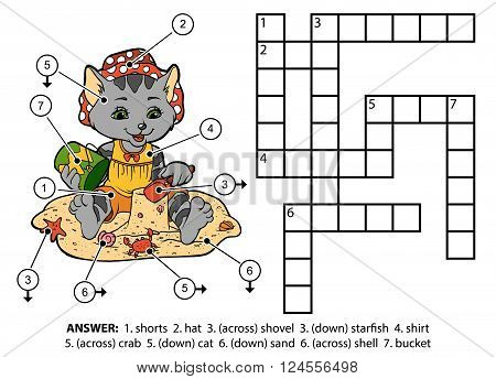 Vector Color Crossword. Kitty Sitting On The Beach