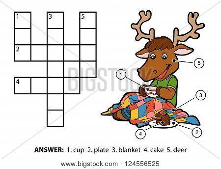 Vector Color Crossword. Deer Drinking Tea