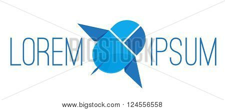 Stylized computer PC mouse with a wings, the vector logo template