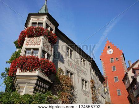 MEERSBURG, GERMANY - Nov 12, 2015: Historic old town of Meersburg in Germany on Nov 12, 2015. It is one of the most popular cities on Lake Constance.