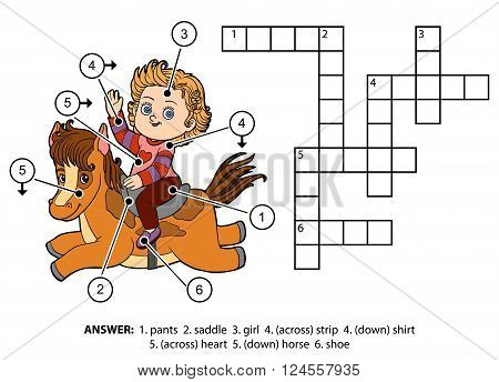Vector Color Crossword. Little Girl On A Horse