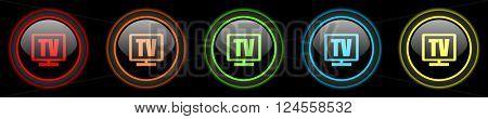 tv colored web icons set on black background