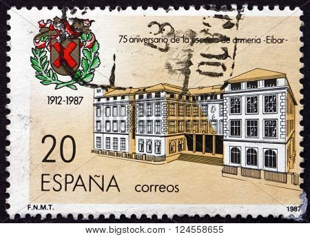 SPAIN - CIRCA 1987: a stamp printed in the Spain shows Elbar Weaponry School 75th Anniversary circa 1987
