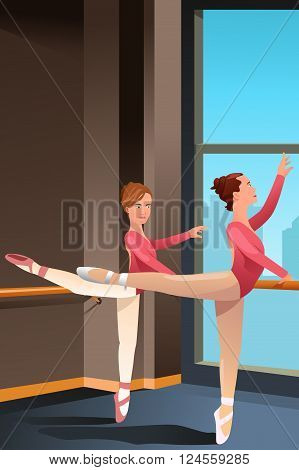 A vector illustration of cute ballerina girls practicing ballet dance in a studio