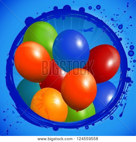 Colorful Balloons Coming Out From a Grunge Circle Over Blue Background