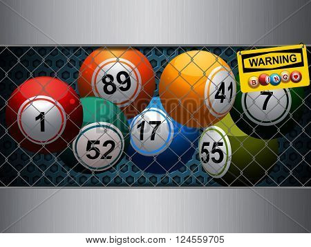 Bingo Balls Trapped Inside a Cage with Honeycomb Metallic Background and Yellow Warning Sign