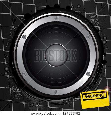 Big Speaker with Screws Over Grunge Metallic Cage with Yellow Warning Sign Background