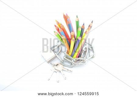 Safety Education concepts with key, chain and colour pencil