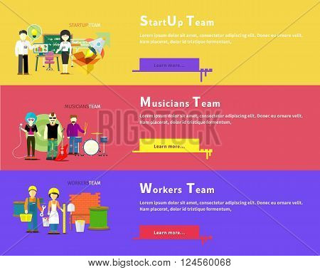 Startup business team people group flat style. Workers team people group flat style. Work and construction worker. Musicians team. Music and singer, artist and musical instruments