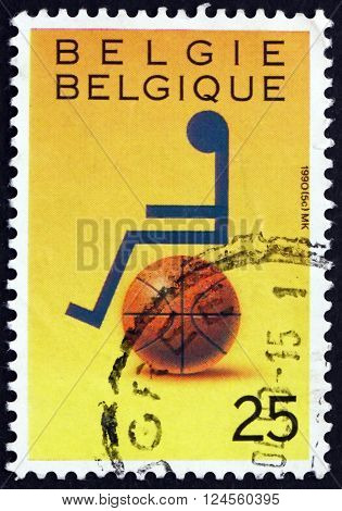 BELGIUM - CIRCA 1990: a stamp printed in the Belgium dedicated to Wheelchair Basket Sport circa 1990