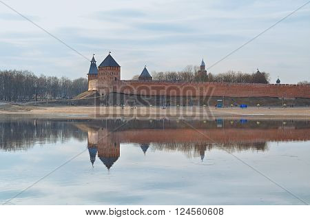 Panoramic view of Novgorod Kremlin at the spring sunset in Veliky Novgorod Russia