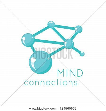 Mind connection logo science design. Science and mind logo, technology idea mind connection and business connection structure mind, network system vector illustration