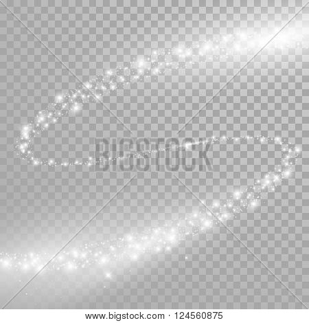 Vector light trace with star glitter flare magic effect.