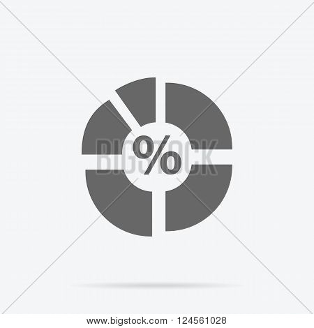 Pie chart flat sign design concept. Graph pie, infographics and pie chart, diagram marketing, report data, circle statistic, finance presentation, market information financial illustration
