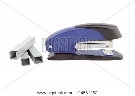 Blue stapler and staples isolated on white background