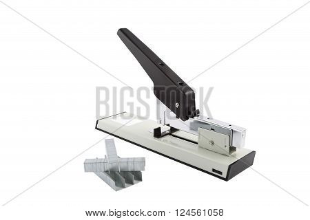 Steel stapler isolated on white background, closeup