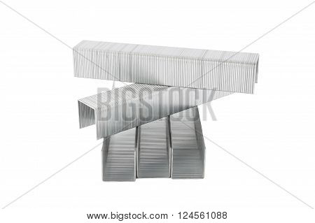 Metal staples isolated on white background, closeup