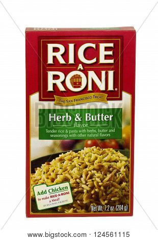 RIVER FALLS,WISCONSIN-APRIL 4,2016: A box of Rice A Roni brand Herb and Butter rice and pasta mix.
