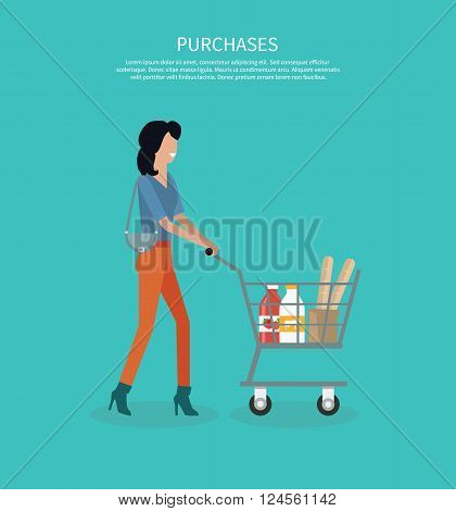 Woman with cart purchases design. Shop cart customer woman buy purchase, trolley with purchase, consumer with goods, food product in cart, buyer woman, shopper vector illustration