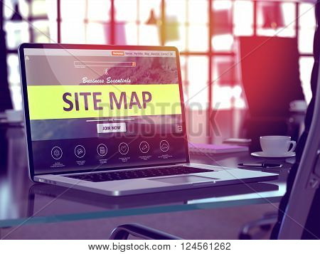 Site Map Concept. Closeup Landing Page on Laptop Screen  on background of Comfortable Working Place in Modern Office. Blurred, Toned Image. 3D Render.