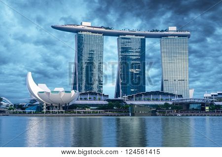 SINGAPORE CITY, SINGAPORE - FEBRUARY 21, 2016: Marina Bay Sands at night the largest hotel in Asia. It opened on 27 April 2010. Singapore on FEBRUARY 21, 2016