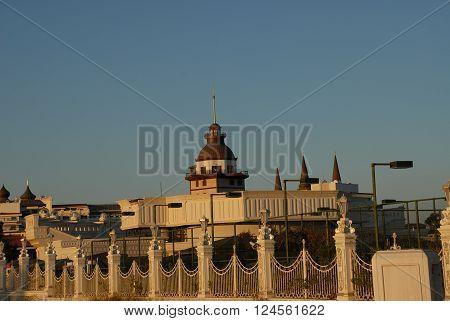 ANTALYA/TURKEY-OCTOBER 19, 2014: Seven stars Mardan Palace Hotel near the Mediterranean beach. October 19,2014-Antalya/Turkey