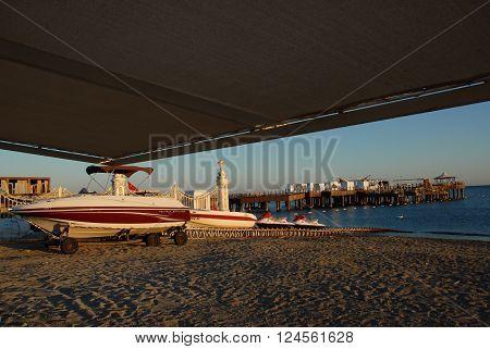 ANTALYA/TURKEY-OCTOBER 19, 2014: Seven stars Mardan Palace Hotel's diving center near the Mediterranean beach. October 19,2014-Antalya/Turkey