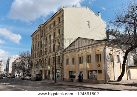 MOSCOW, RUSSIA - MARCH 21, 2016: Apartment house of a merchant Fyodor Konkin (1900) Street Pokrovka 40 and Lucrative two-storey house built on the site of the manor outbuilding Shuvalov (1914) Pokrovka 38 building 1