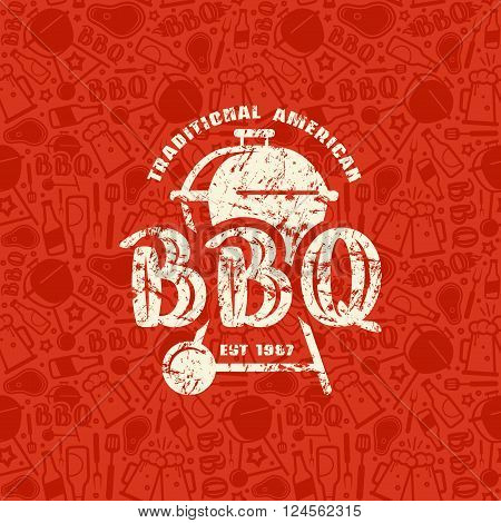 Barbecue Seamless Pattern And Emblem