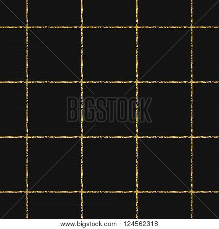 Gold foil glitter line stripes dark seamless pattern. Vector shimmer abstract grey texture. Sparkle shiny cells background.