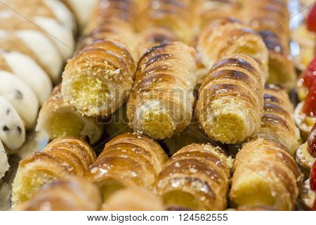 hand made puff pastries stuffed with cream