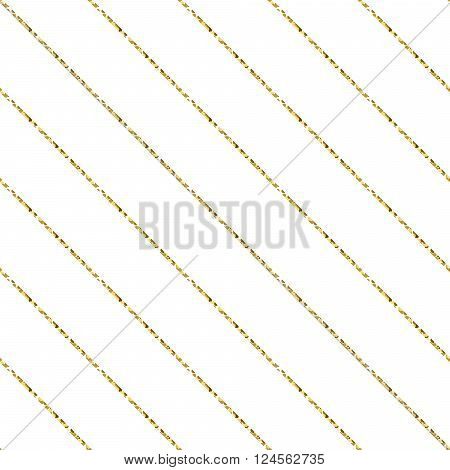 Gold foil glitter line stripes white seamless pattern. Vector shimmer abstract oblique lines white texture. Sparkle shiny striped background.