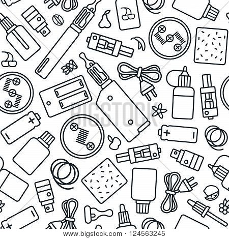 Vape Shop Seamless Pattern In Thin Line Style