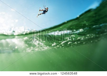Surfer Flying Over The Water