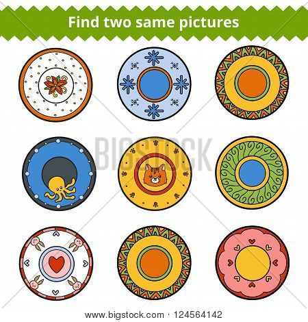 Find Two Same Pictures, Plates With Animals And Geometric Ornaments