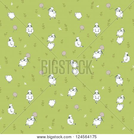 seamless pattern with sheep on a green background