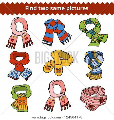 Find Two Same Pictures, Set Of Knitted Scarves
